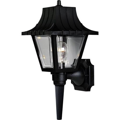 Progress Lighting Mansard 17 In H Black Medium Base (e 26 Pertaining To Well Liked Faunce 12'' H Beveled Glass Outdoor Wall Lanterns (View 11 of 15)