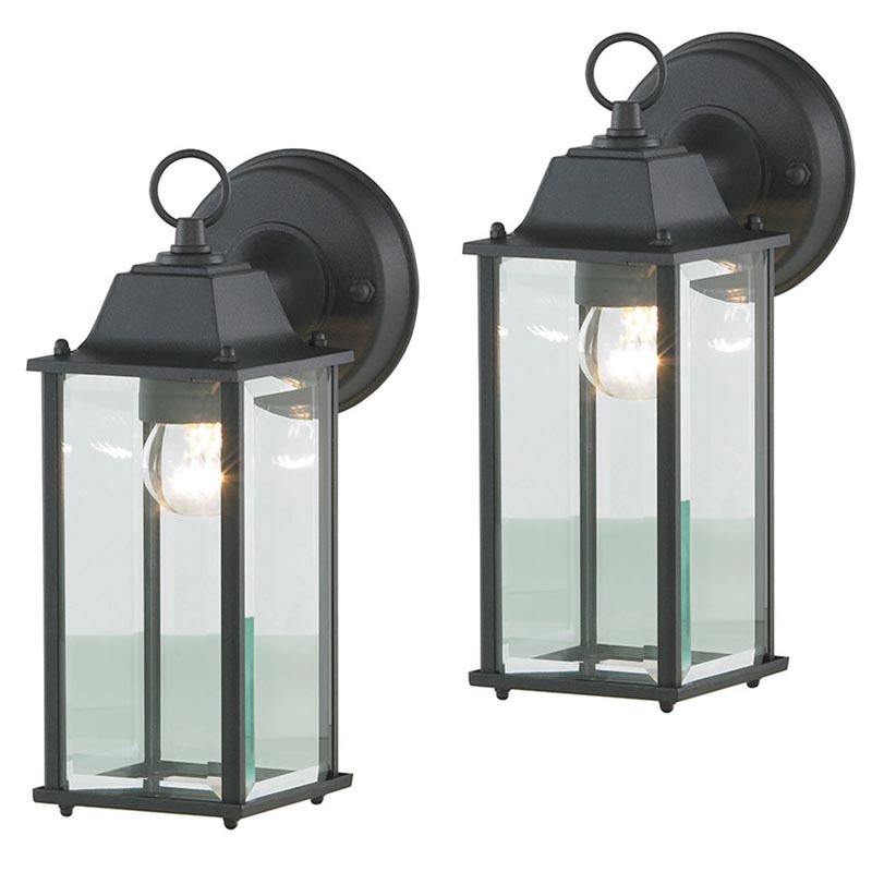 Recent Carrington Beveled Glass Outdoor Wall Lanterns With 2 Pack Colone Outdoor Glass Black Wall Light Lantern (View 10 of 15)