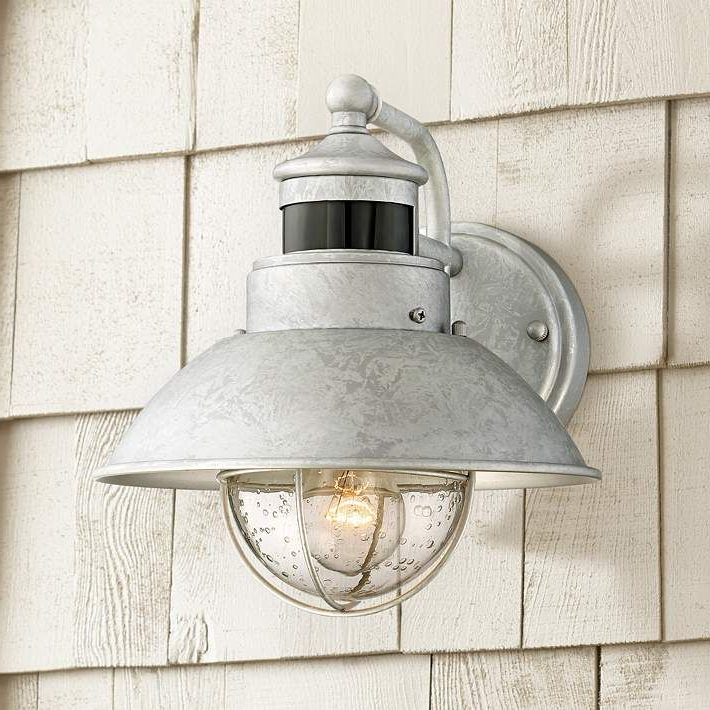 """Recent Oberlin 9"""" High Galvanized Steel Motion Sensor Wall Light With Clarisa Seeded Glass Outdoor Barn Lights With Dusk To Dawn (View 11 of 15)"""