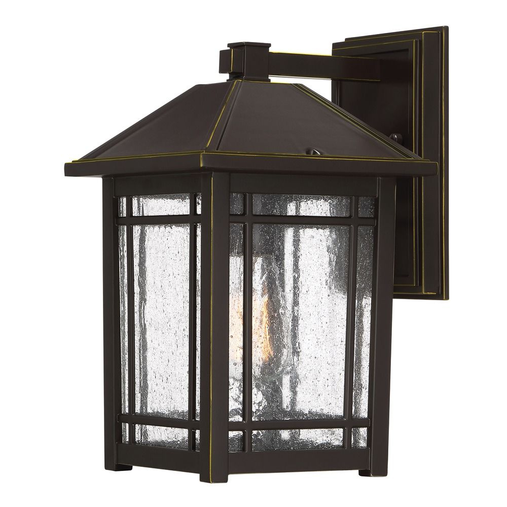 Robertson 2 – Bulb Seeded Glass Outdoor Wall Lanterns With Regard To 2018 Seeded Glass Outdoor Wall Light Bronze Quoizel Lighting (View 15 of 15)