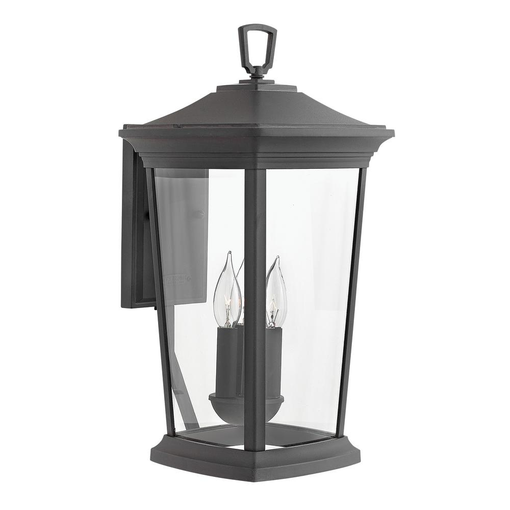 Roden Black 3 Bulb Outdoor Wall Lanterns In Widely Used Hinkley Lighting Bromley Large 3 Light Museum Black (View 14 of 15)