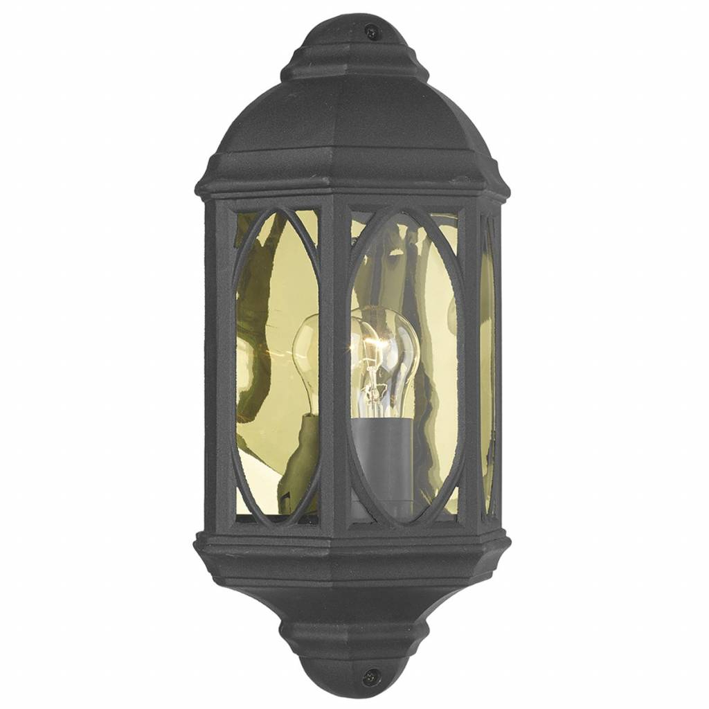 Roden Black 3 Bulb Outdoor Wall Lanterns Intended For Widely Used Outdoor Half Wall Lantern – Black – Lightbox (View 10 of 15)