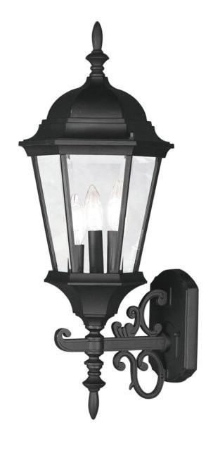 Roden Black 3 Bulb Outdoor Wall Lanterns Regarding Famous Livex Hamilton 3 Light 24 Inch Black Outdoor Wall Lantern (View 6 of 15)