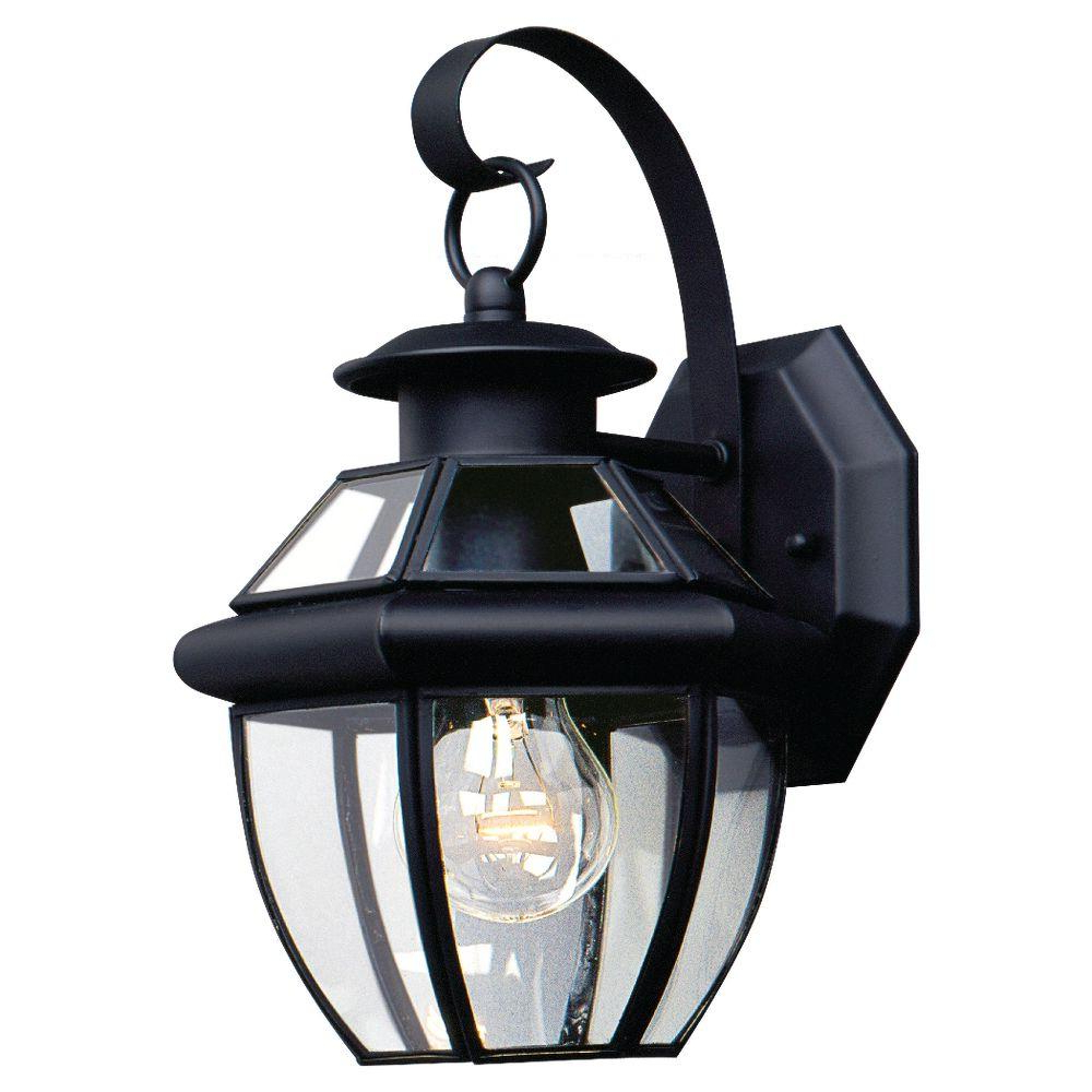 Sea Gull Lighting Lancaster 1 Light Black Outdoor Wall With Regard To Well Liked Faunce 12'' H Beveled Glass Outdoor Wall Lanterns (View 6 of 15)