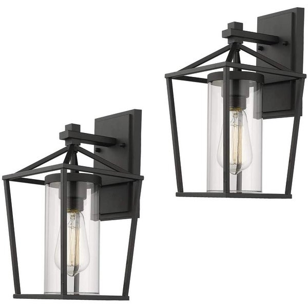 Shop Emliviar Indoor/outdoor Sconce 2 Pack With Clear Pertaining To Widely Used Robertson 2 – Bulb Seeded Glass Outdoor Wall Lanterns (View 14 of 15)
