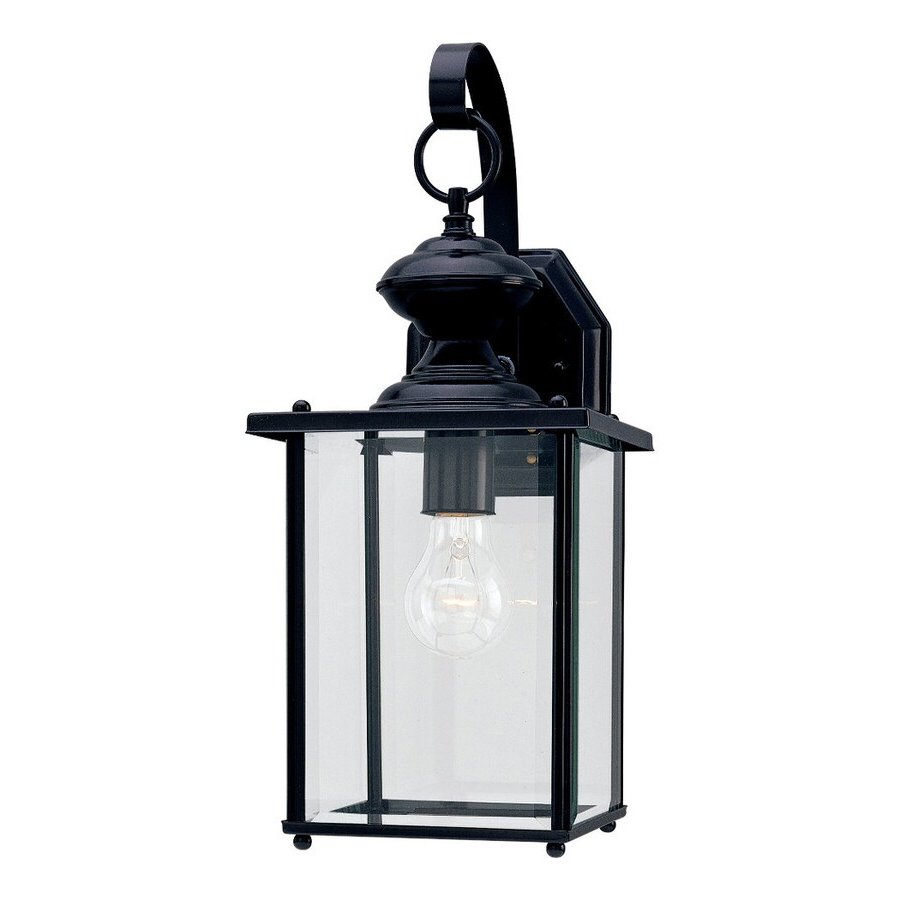 Shop Sea Gull Lighting Jamestowne 17 In H Black Outdoor Inside 2019 Faunce 12'' H Beveled Glass Outdoor Wall Lanterns (View 4 of 15)