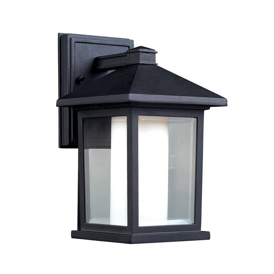 Shop Z Lite Mesa 10 In H Black Outdoor Wall Light At Lowes Intended For Fashionable Clarence Black 10'' H Outdoor Wall Lanterns (View 7 of 15)
