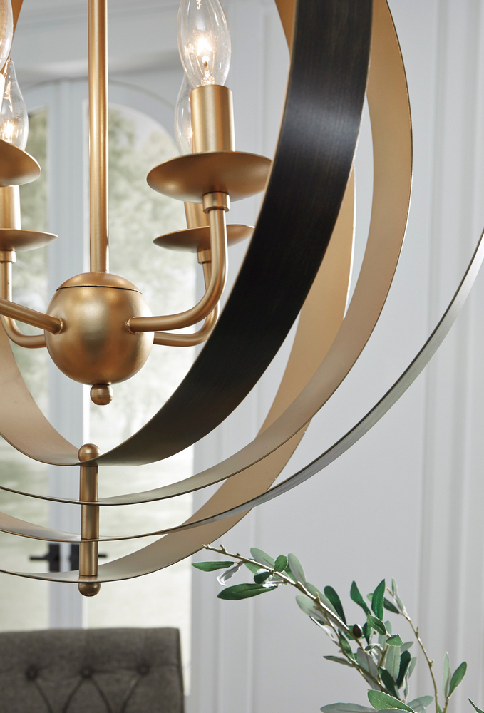 Signature Design Makani Black/gold Metal Pendant Light Intended For Widely Used Nayen Black 23'' H Wall Lanterns (View 7 of 15)