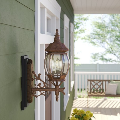 Sol 72 Outdoor™ Gillian Beveled Glass Outdoor Wall Lantern For Famous Gillian 3 – Bulb  (View 10 of 15)