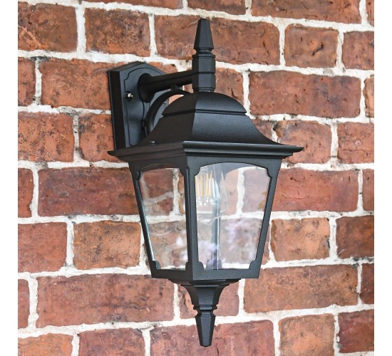 Stockbridge Large Black Top Fix Wall Lantern – Traditional Inside Trendy Heitman Black Wall Lanterns (View 13 of 15)