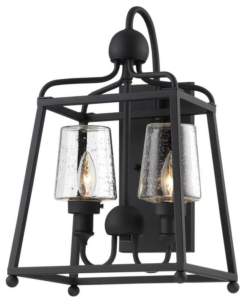 Sylvan 2 Light Outdoor Wall Mount Black Forged Seeded Regarding Latest Emaje Black Seeded Glass Outdoor Wall Lanterns (View 14 of 15)