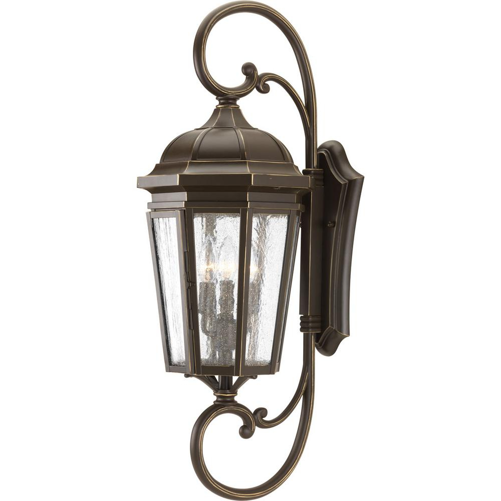 Tangier Dark Bronze Wall Lanterns Throughout Most Recently Released Progress Lighting Verdae Collection 3 Light Outdoor (View 14 of 15)