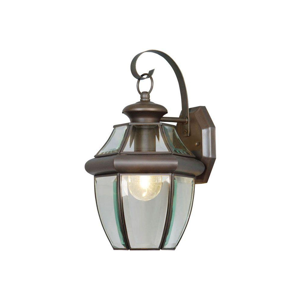 Trendy Carrington Beveled Glass Outdoor Wall Lanterns Within Livex Lighting 1 Light Bronze Outdoor Wall Lantern Sconce (View 8 of 15)