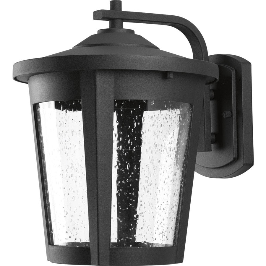 Trendy Chelston 12'' H Seeded Glass Outdoor Wall Lanterns Inside Shop Progress Lighting East Haven Led 12 In H Led Black (View 3 of 15)