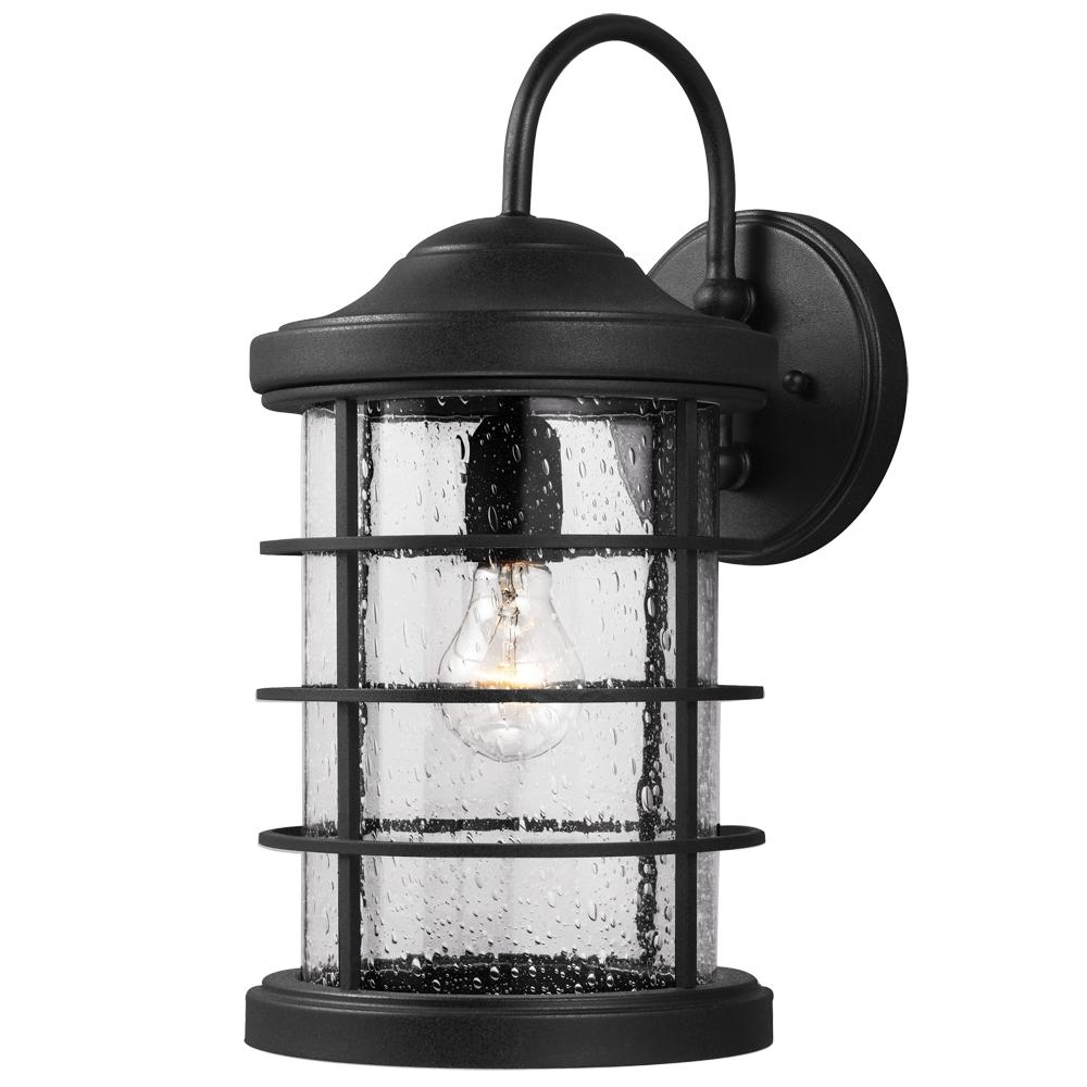 Trendy Sea Gull Sauganash One Light Outdoor Wall Lantern In Black With Regard To Emaje Black Seeded Glass Outdoor Wall Lanterns (View 13 of 15)