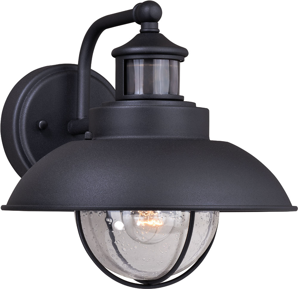 Vaxcel T0262 Harwich Dualux Textured Black Outdoor Motion For Fashionable Clarisa Seeded Glass Outdoor Barn Lights With Dusk To Dawn (View 2 of 15)