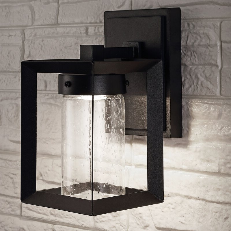 Vernie Black 9.75'' H Integrated Led Outdoor Bulkhead Lights Inside Trendy Wrought Studio Schlueter Black  (View 4 of 15)