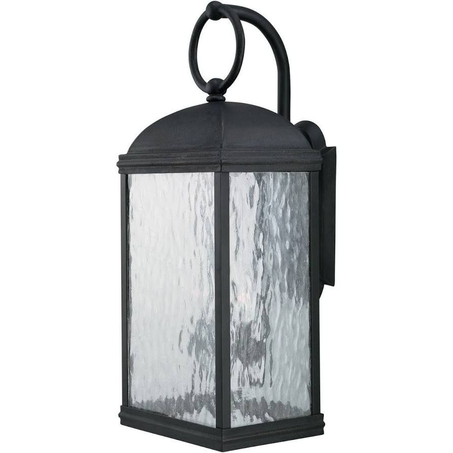 Well Known Black Coach Lanterns Exterior Sconce Seeded Glass Inside Emaje Black Seeded Glass Outdoor Wall Lanterns (View 9 of 15)