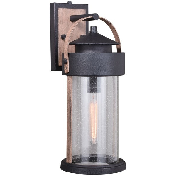 Well Known Chelston 12'' H Seeded Glass Outdoor Wall Lanterns For Cumberland 1 Light Dusk To Dawn Brown Wood Rustic Outdoor (View 14 of 15)