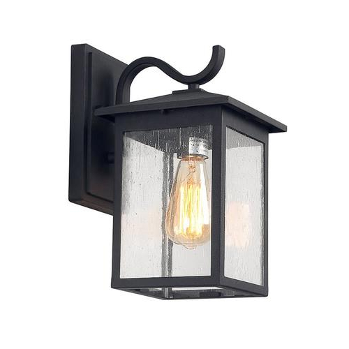 Well Known Chelston 12'' H Seeded Glass Outdoor Wall Lanterns Within Lnc Sabrina 12 In H Sand Black Medium Base (e 26) Outdoor (View 8 of 15)