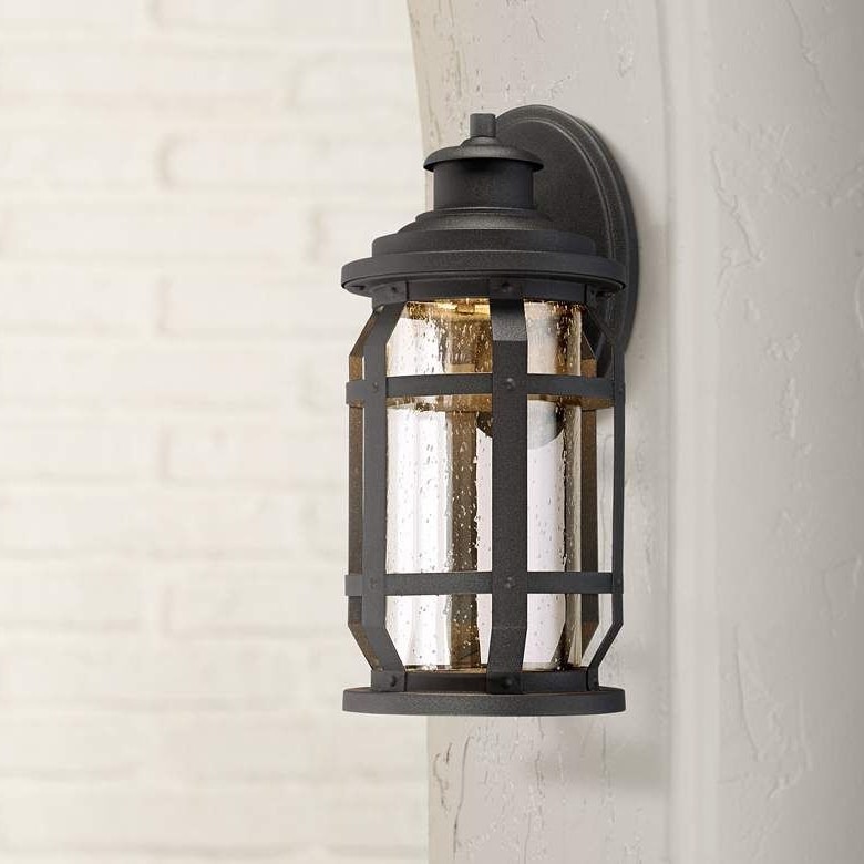 """Well Known Delano 15 1/2"""" High Textured Black Led Outdoor Wall Light Regarding Bellefield Black 15'' H Outdoor Wall Lanterns (View 4 of 15)"""