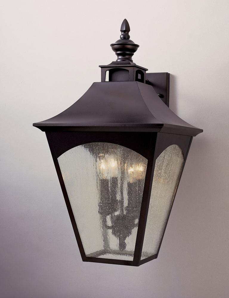 Well Known Feiss Four Light Oil Rubbed Bronze Thick Clear Seeded For Heinemann Rubbed Bronze Seeded Glass Outdoor Wall Lanterns (View 5 of 15)