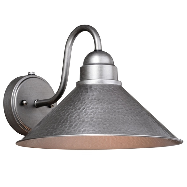 Well Known Gunnora Outdoor Barn Lights With Dusk To Dawn Within Outland 1 Light Dusk To Dawn Pewter Farmhouse Barn Dome (View 6 of 15)