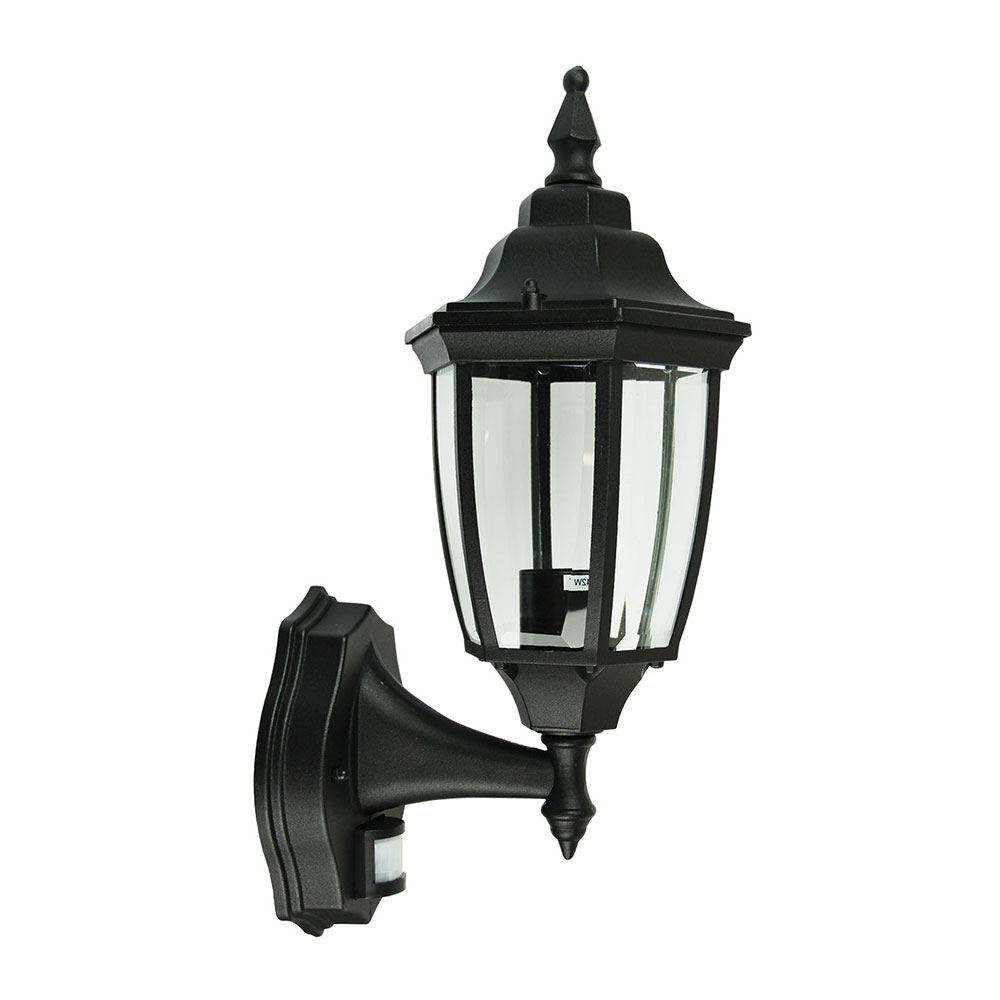 Well Known Highgate 1 Light Exterior Wall Light With Sensor Black For Feuerstein Black 16'' H Outdoor Wall Lanterns (View 11 of 15)