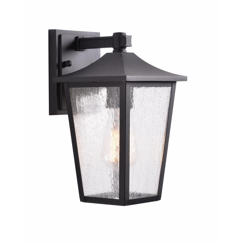 Well Known Home Decorators Collection 1 Light Black Aluminum Outdoor For Palma Black/clear Seeded Glass Outdoor Wall Lanterns (View 10 of 15)