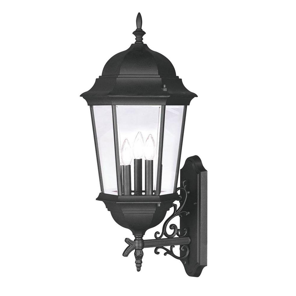 Well Known Livex Lighting Providence Wall Mount 3 Light Black Outdoor Intended For Roden Black 3 Bulb Outdoor Wall Lanterns (View 9 of 15)