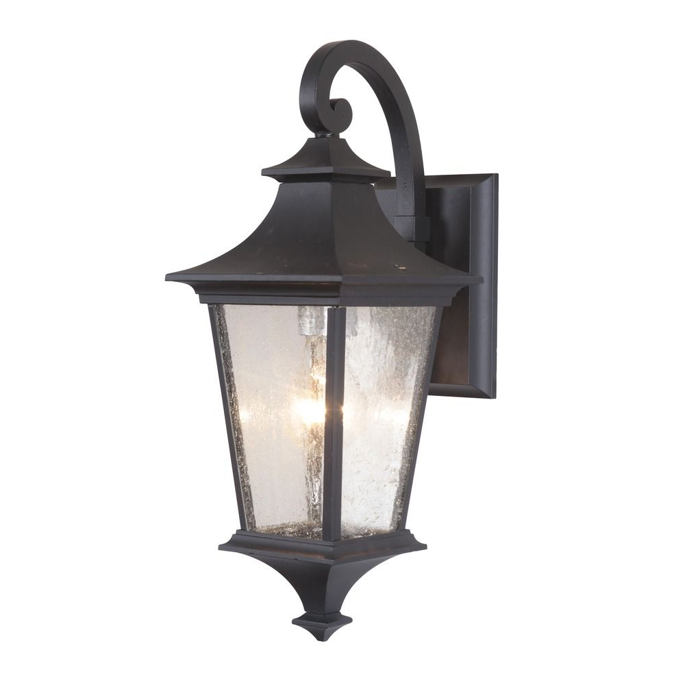 Well Known Palma Black/clear Seeded Glass Outdoor Wall Lanterns With Seeded Glass Outdoor Wall Light Black Craftmade Lighting (View 3 of 15)
