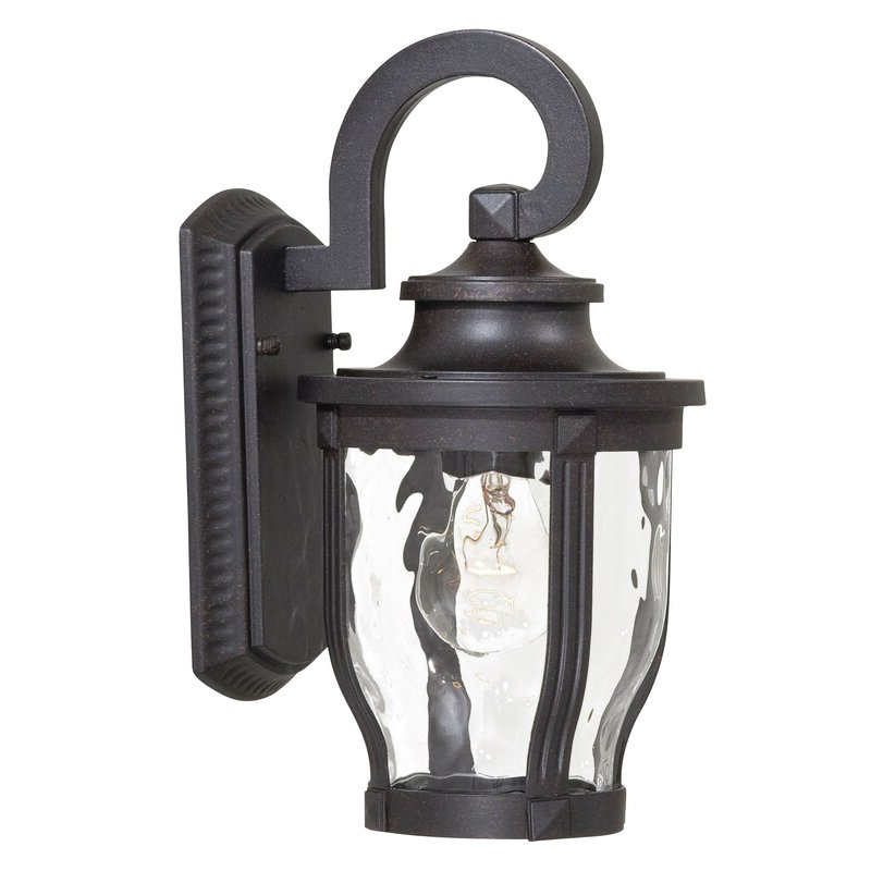 Well Known Payeur 12.25'' H Hammered Glass Outdoor Wall Lanterns Within Charlton Home® Urbanek Corona Bronze  (View 13 of 15)