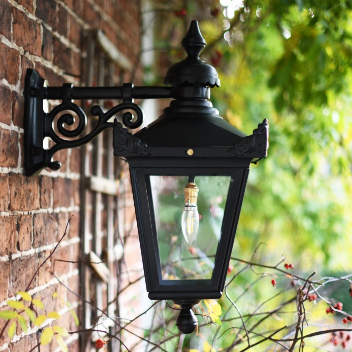 Well Known Traditional Black Victorian Top Fix Wall Lantern Throughout Armanno Matte Black Wall Lanterns (View 13 of 15)