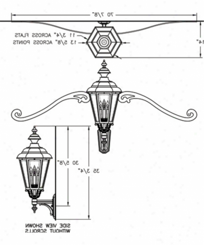 Well Liked Bayou 17'' H Beveled Glass Outdoor Wall Lanterns With Regard To Minka Lavery 9142 291 Kent Place 3 Light Outdoor Wall (View 15 of 15)