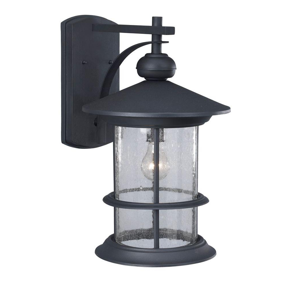 Well Liked Carrington Beveled Glass Outdoor Wall Lanterns Within Canarm Ryder 1 Light Black Outdoor Wall Lantern With (View 7 of 15)