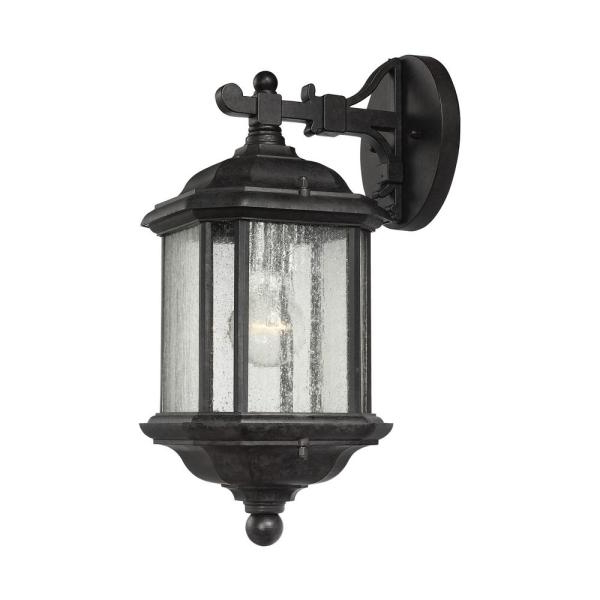 Well Liked Chelston 12'' H Seeded Glass Outdoor Wall Lanterns Within Sea Gull Lighting Kent 1 Light Oxford Bronze Outdoor 15 In (View 7 of 15)