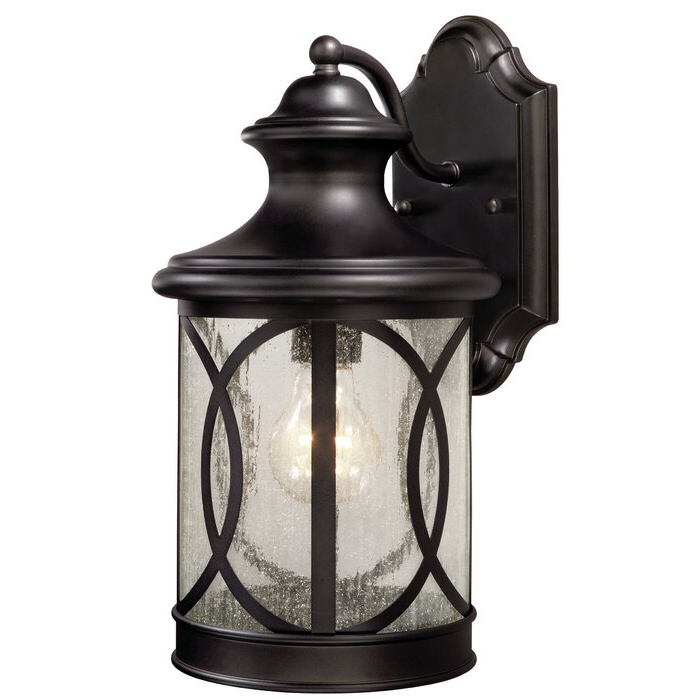 Well Liked Heinemann Rubbed Bronze Seeded Glass Outdoor Wall Lanterns Intended For Breakwater Bay Philip Oil Rubbed Bronze Seeded Glass (View 1 of 15)
