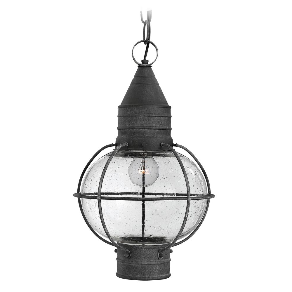 Well Liked Seeded Glass Outdoor Hanging Light Zinc Hinkley (View 8 of 15)