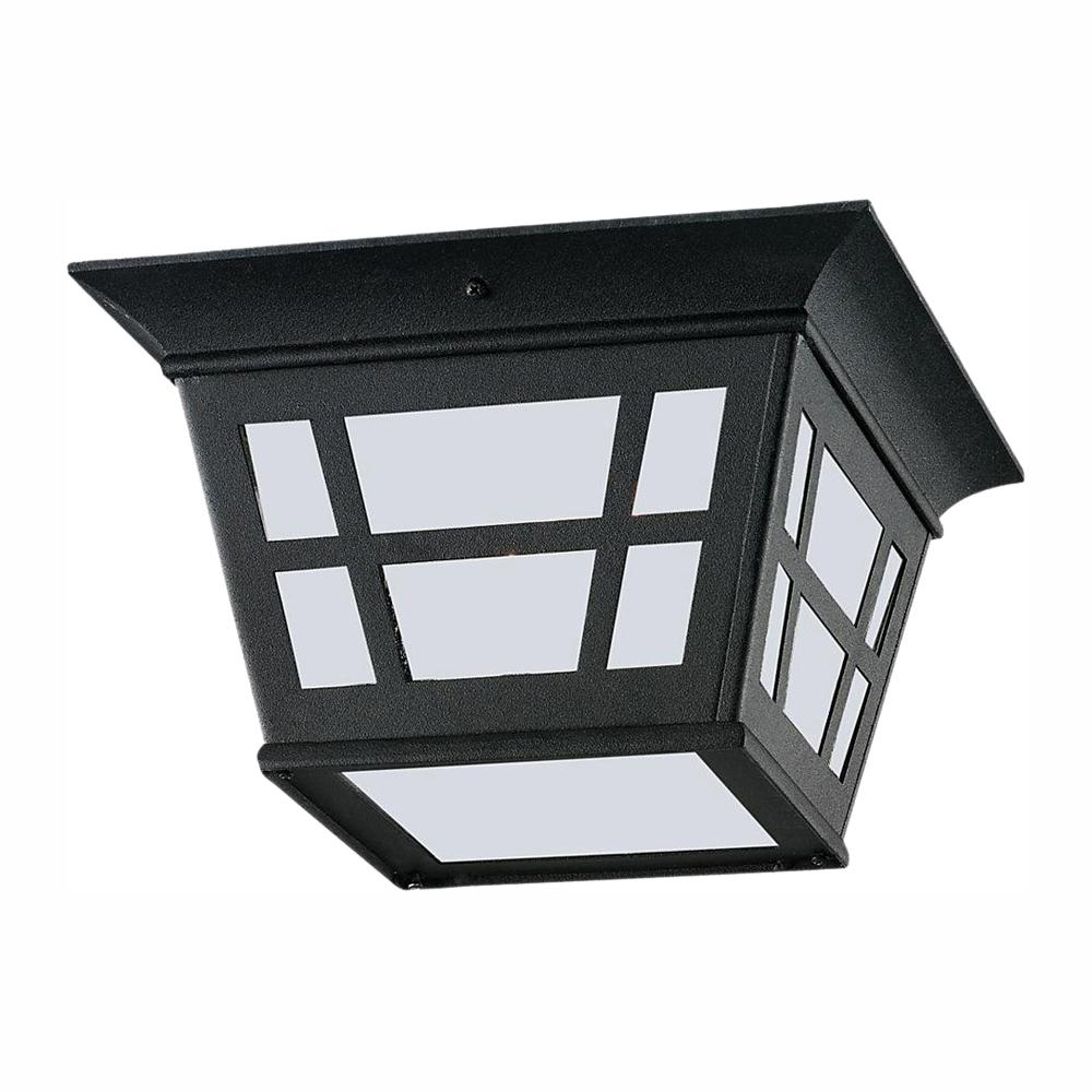 Well Liked Whisnant Black Integrated Led Frosted Glass Outdoor Flush Mount Throughout Sea Gull Lighting Herrington Black 2 Light Outdoor Flush (View 14 of 15)