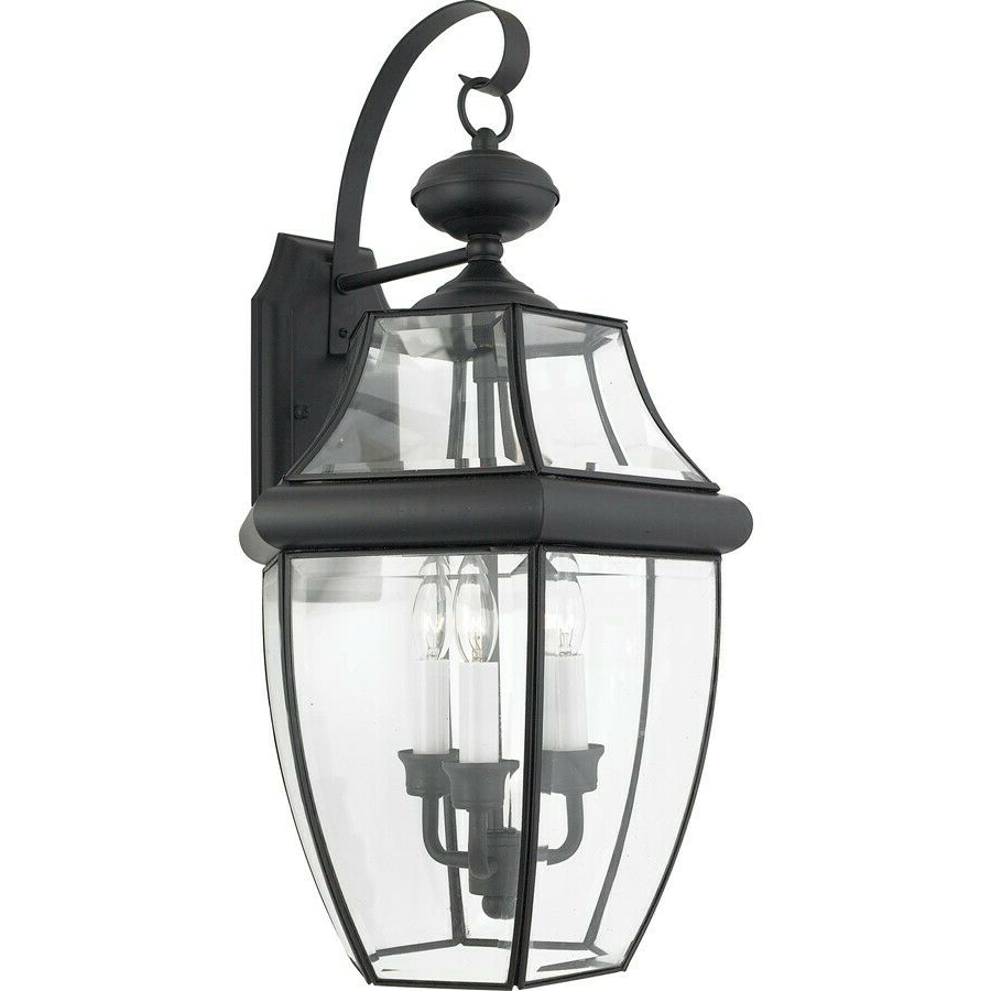 Widely Used Heitman Black Wall Lanterns Intended For Quoizel 3 Light Newbury Outdoor Wall Lanterns, Mystic (View 5 of 15)