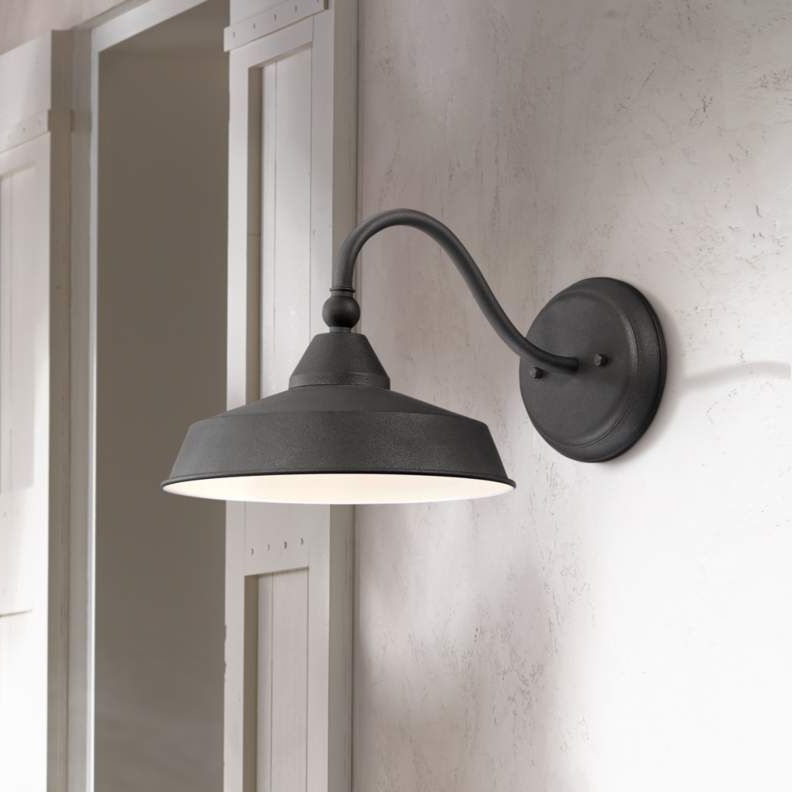 """Willard 8 3/4""""h Textured Black Led Barn Outdoor Wall Light Intended For Most Current Rickey Black Outdoor Barn Lights (View 4 of 15)"""