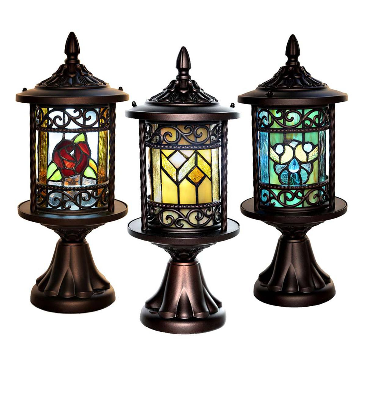 Wireless Stained Glass Outdoor Lantern – Blue Shells Within Trendy Wrentham Beveled Glass Outdoor Wall Lanterns (View 15 of 15)