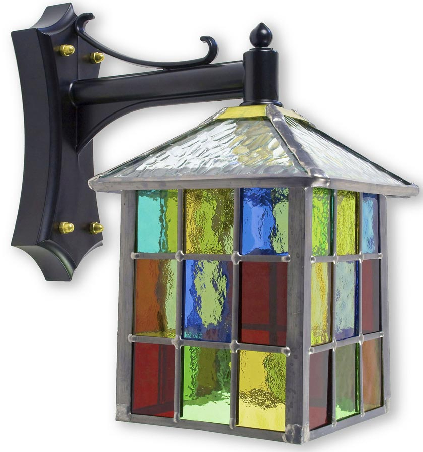 Wrentham Beveled Glass Outdoor Wall Lanterns In Well Liked Lynmouth Multi Coloured Stained Glass Square Outdoor Wall (View 7 of 15)