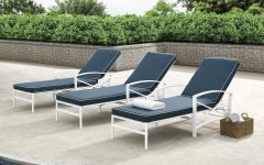 Chaise Lounge Chairs in White with Navy Cushions