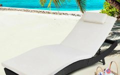 Adjustable Outdoor Wicker Chaise Lounge Chairs with Cushion