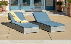 Outdoor Wicker Adjustable Chaise Lounges with Cushions