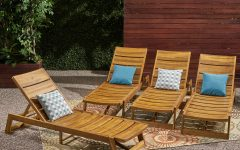 Outdoor 3 Piece Acacia Wood Chaise Lounge Sets