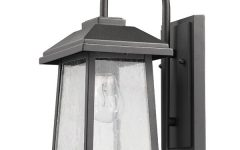 Emaje Black Seeded Glass Outdoor Wall Lanterns