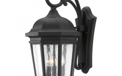 Palma Black/clear Seeded Glass Outdoor Wall Lanterns