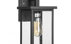 Brook Black 9.5'' H Seeded Glass Outdoor Wall Lanterns with Dusk to Dawn